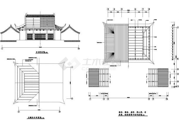 某大型财神殿建筑全套施工设计cad图纸(含主殿防水布置图)-图一