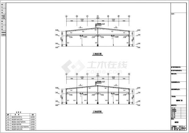 安徽某石材公司钢结构工程设计CAD图-图二