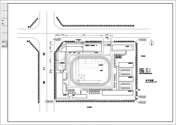 某小学7200平米6层框架结构教学综合楼平立面设计CAD图纸(含总平面图)-图一