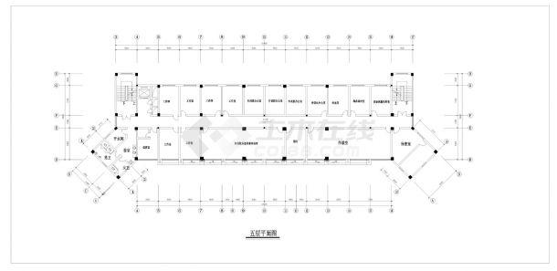 某市武警支队六层办公楼建筑方案cad图纸-图一