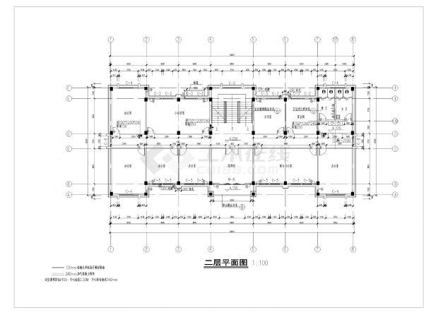 某三层简约式办公楼建筑方案cad图纸-图一