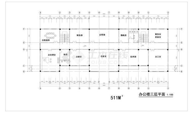 某五层中式办公楼建筑方案cad图纸-图一