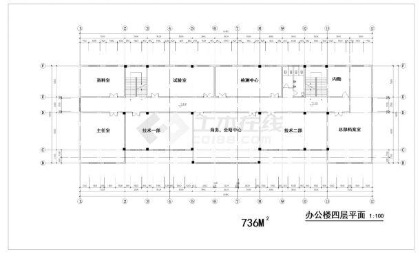 某五层中式办公楼建筑方案cad图纸-图二