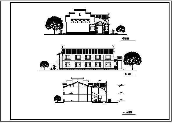酒店设计_某市二层新徽派园林酒店建筑施工cad图(带效果图)-图二