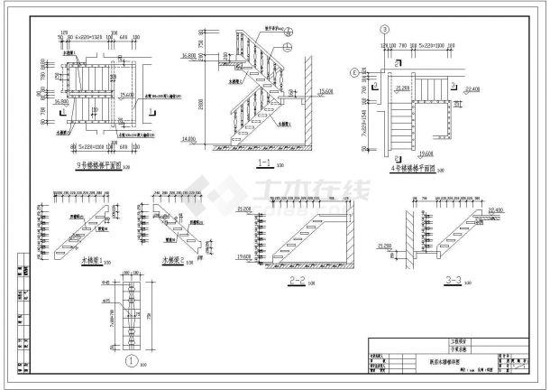 木楼梯cad施工图纸-图二