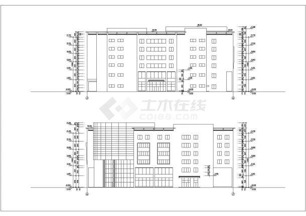 某商业街1.3万平米6层框架结构百货商场平立剖面设计CAD图纸-图一