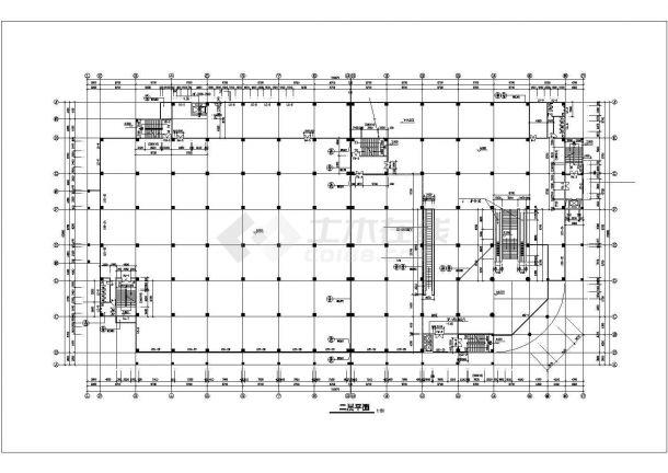 某商业街1.3万平米6层框架结构百货商场平立剖面设计CAD图纸-图二