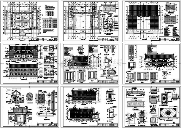 某标准完整民居砖混结构仿古四合院设计cad全套建筑施工图(含设计说明)-图二