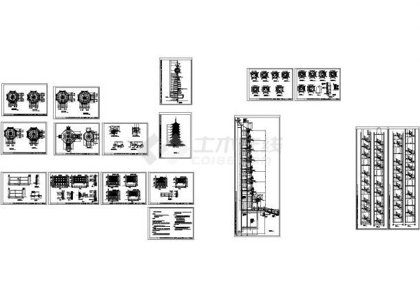 七层仿古佛塔建筑设计施工cad图纸,共十六张-图一