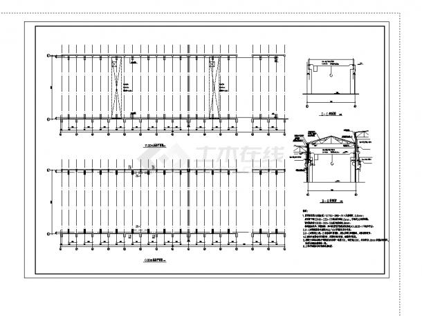 厂房设计_2套钢架车辆厂房建筑方案设计施工cad图纸-图二