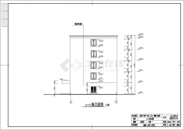 2866平方米五层学生公寓楼建筑结构设计施工cad图纸(含计算书)-图二