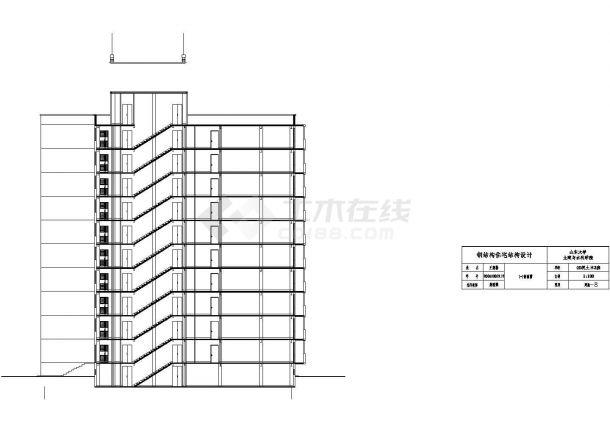 15120平米半地下室地上10层钢框架住宅建筑结构设计施工cad图纸(含计算书)-图二