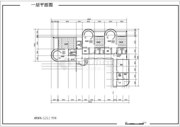 7班:3层1413.6平米幼儿园建筑方案cad设计图-图二