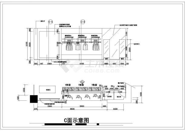 某130平方服装专卖店装修设计cad施工图-图一