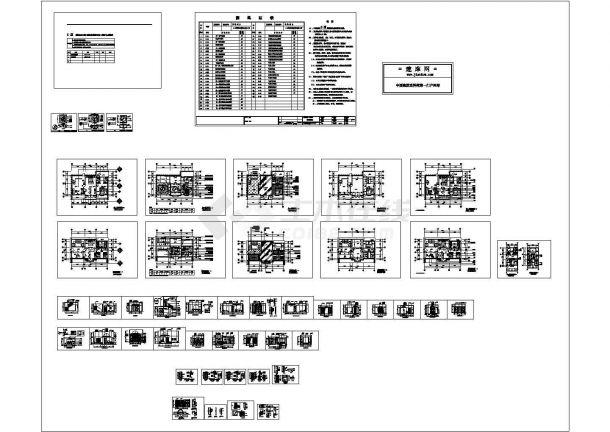 某法兰西风情别墅室内装修设计cad全套施工图(含设计说明)-图二