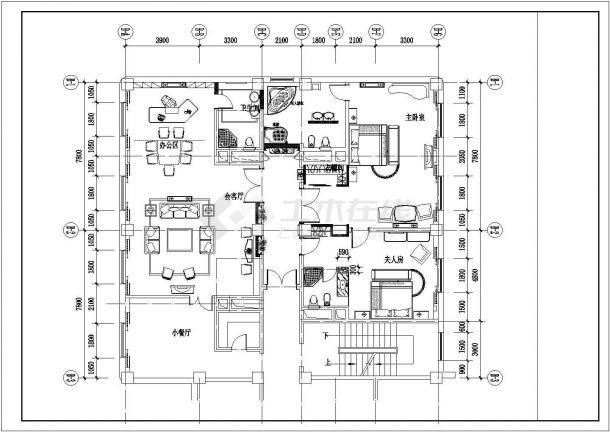 上海某五星级酒店总统套房平面布置设计CAD图纸(3套方案)-图二