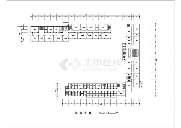 沧州市某职业学院1.2万平米5层框架机构医院实验楼平面设计CAD图纸-图一