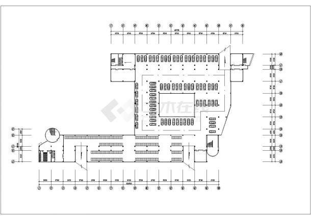 某高校95x78米左右五层框架结构教学楼平立剖面设计CAD图纸-图一