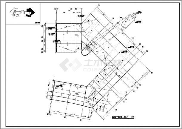 2.4万平米三段6层框架结构组合式教学楼全套平面设计CAD图纸-图一