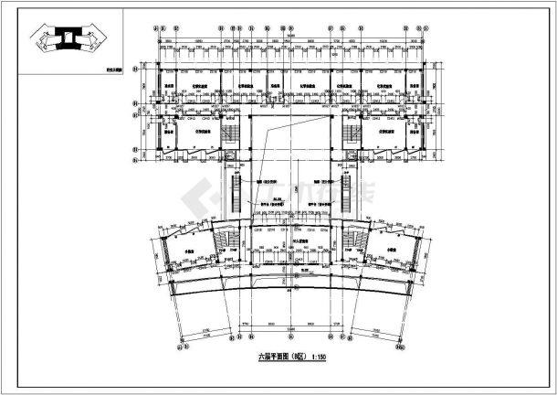 2.4万平米三段6层框架结构组合式教学楼全套平面设计CAD图纸-图二