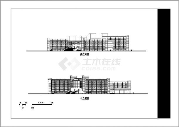 某高等专科学校125x125米六层框架结构教学楼平立剖面设计CAD图纸-图一