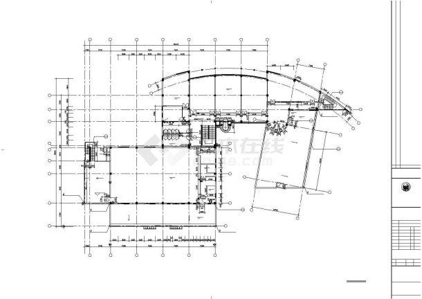 6800平米左右三层框架结构商务会所平面设计CAD图纸(含地下层)-图二