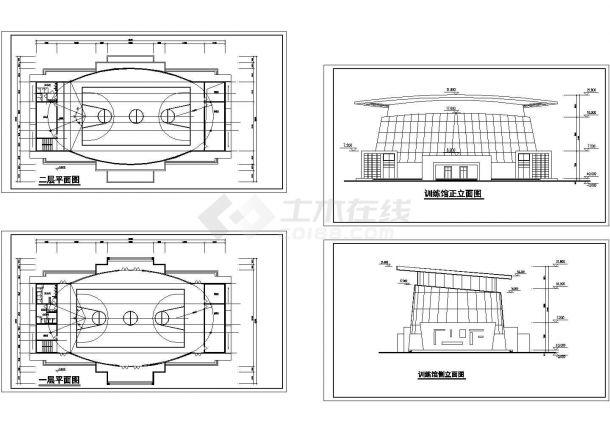 某二层框架结构训练馆设计CAD建筑方案图纸(甲级院设计)-图二
