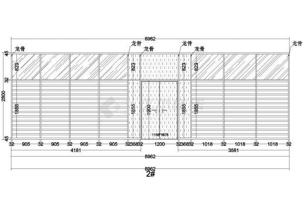 办公隔断高隔墙CAD图-图一