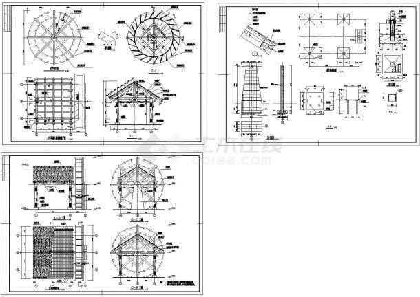 某园林景观造型别致_公园水边水车施工图、草棚木屋设计cad施工详图(含平面图、剖面图及结构大样图)-图一