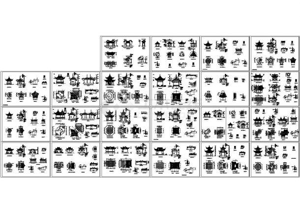 经典圆、方、三~八角亭、扇亭、重檐亭等22种仿古风格木亭设计cad全套建筑施工图(甲级院设计)-图二