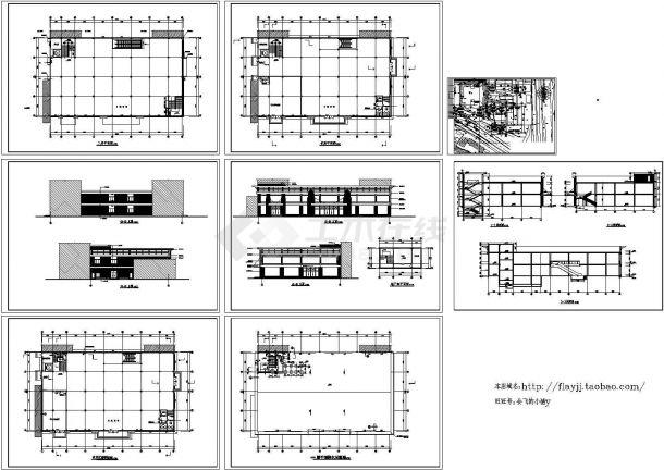 地下1(机房层)地上2层小超市全套建筑施工图【平立剖】-图一