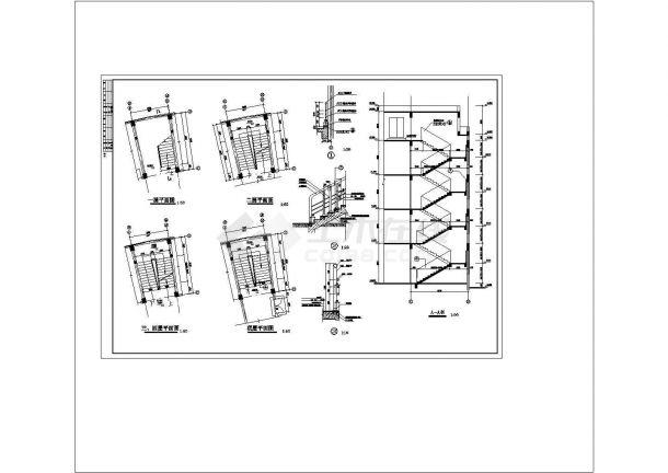 办公楼设计_办公楼多层楼梯cad非常标准图纸-图一