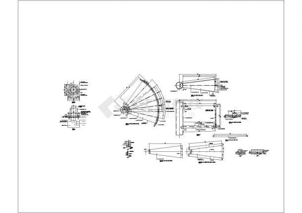 国外钢螺旋楼梯cad施工图纸-图一