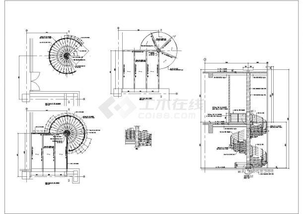 国外钢螺旋楼梯cad施工图纸-图二