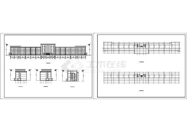 某市区小学多层教学楼设计cad全套建筑施工图纸(标注详细)-图二