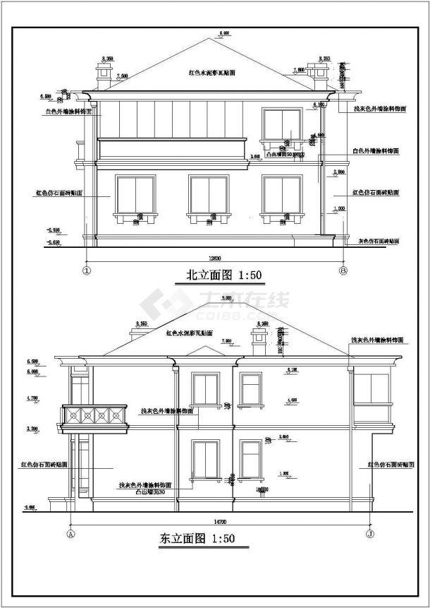 某地区精装独栋别墅方案设计施工CAD图纸(含效果图)-图一