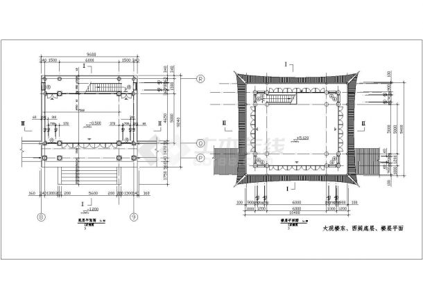 【南京】某公园大观楼古建筑全套施工设计cad图纸-图一