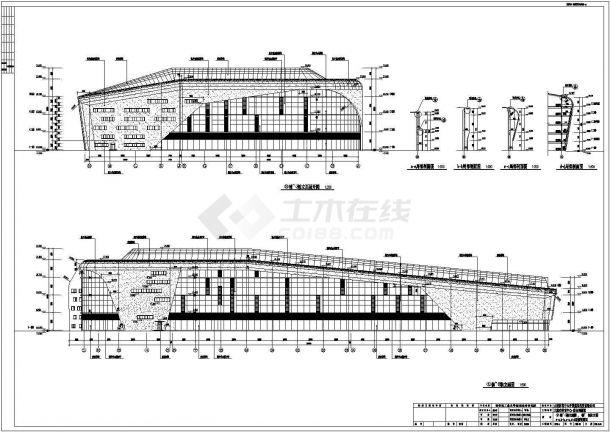 [大连]高层L形框架结构乙级体育训练馆建筑施工cad图-图一