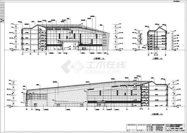 [大连]高层L形框架结构乙级体育训练馆建筑施工cad图-图二