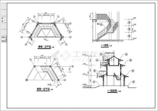 【南通】某地景区古建仿唐紫云阁全套建筑施工cad图-图二