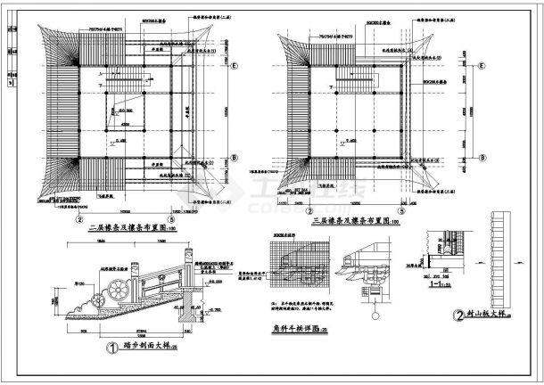 【扬州】某景观文昌阁古建筑施工全套设计cad图-图一