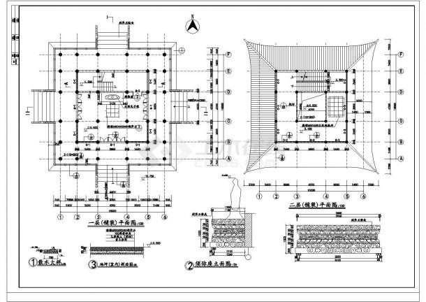 【扬州】某景观文昌阁古建筑施工全套设计cad图-图二