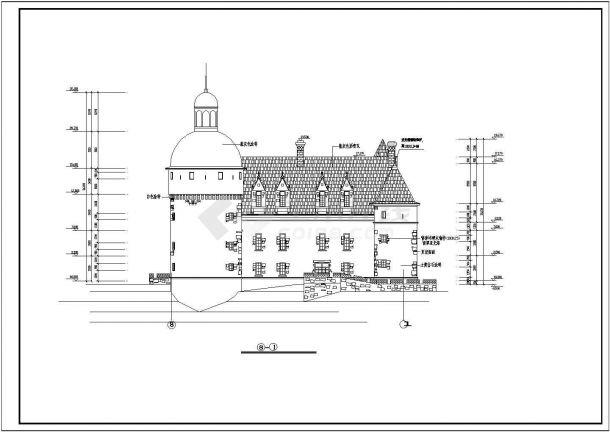 上海某游乐园古城堡全套施工设计cad图-图二