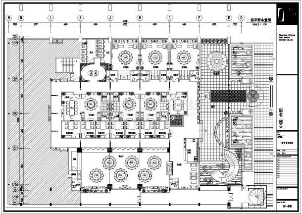安徽豪华海鲜酒家设计装修施工cad图(含鲍鱼总平面图)-图二