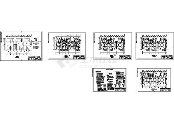 3470平方米六层砖混结构住宅楼设计cad图(含计算书,毕业设计)-图二