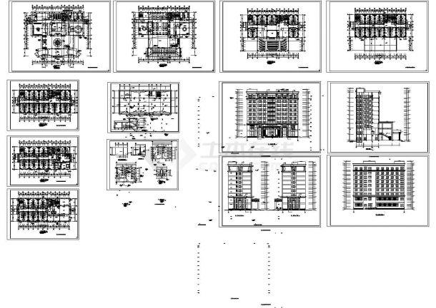 新锦城宾馆多层综合楼规划设计建筑施工cad图纸,共十三张-图一