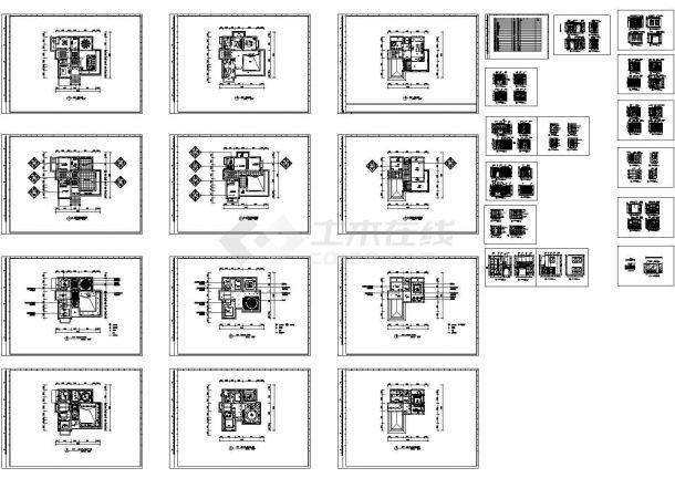 某多层私人别墅室内装修设计cad全套施工图(标注详细)-图二