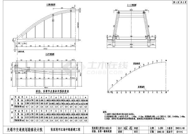 张家港大桥全套施工cad图,共四张-图二