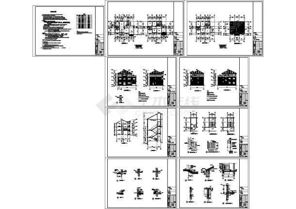 379.92㎡三层新农村独栋别墅建筑设计施工图(含全套CAD图纸)-图二