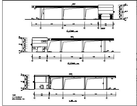 加油站房及罩棚设计_某市二层加油站房及罩棚建筑施工cad图纸-图一